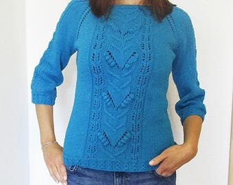 Sommersweater, hand knit, dark turquoise