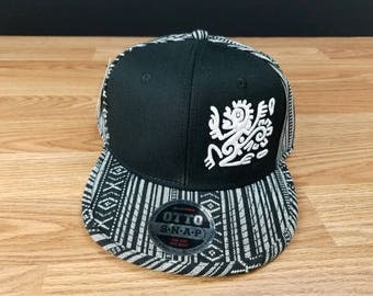 mayan, mayan hat, embroidered hat, mayan art, unique gifts, mayan symbol, monkey, Custom made, snapback, flatbill, otto, 3D hat