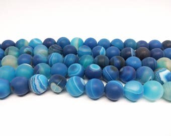 Matte Agate Blue Matte Agate 12mm Blue Matte Agate  Beads  Blue Agate Beads  Striped Agate Beads for  Jewelry Making Mala