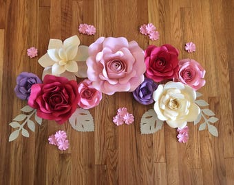 9pc paper flower backdrop,  pink and red larger paper flowers - wall decor - birthday -