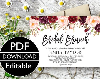 Bridal Brunch Invitation, Watercolor bridal invite, Floral Bridal Shower Card, Instant Digital Download File, Flower Bride DIY, Brunch PDF01