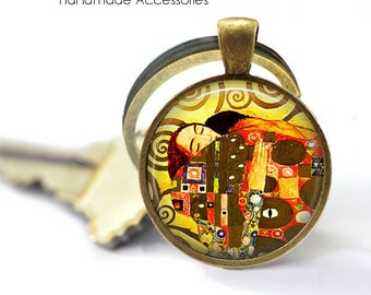 GUSTAV KLIMT Key Ring • Klimt Art • Vintage Klimt Art • Klimt Print Jewellery • Gift Under 20 • Made in Australia (K493)