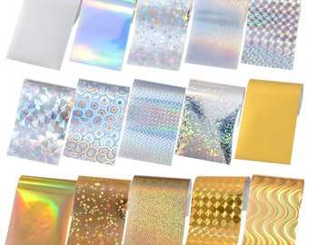 15 Sheets Nail Foils Colorful Shimmer Transfer Sticker DIY Nail Tips for Nail Decorations Manicure Decor