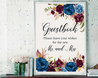 Guestbook Wedding Sign Digital Floral Blue Burgundy Peonies Wedding Boho Printable Bridal Decor Gifts Poster Sign 5x7 and 8x10 - WS-024