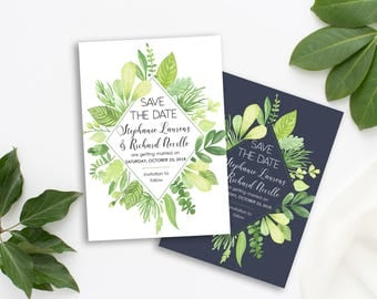 Save the Date Wedding Invitation Greenery Navy blue Floral Printable Digital Wedding Watercolor Bohemian Save the Date Invite WS-035