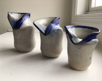 Handmade Blue and White Ceramic Vases