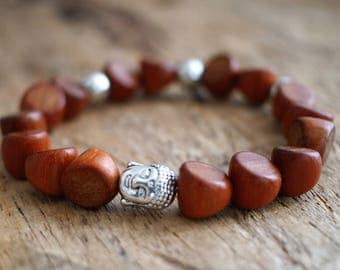 Red wood men brecelet - Buddha men brecelet - Red bracelet