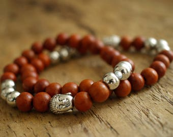 Red wood men brecelet - Buddha brecelet