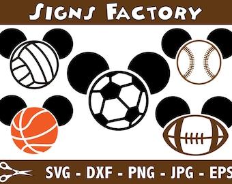 Mickey Baseball svg - Mickey Football svg - Mickey Basketball svg -  Mickey  Soccer Ball svg - Mickey Volleyball svg - dxf - studio cut file