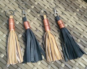 Leather and copper tassle keyring, leather keychain, bag charm