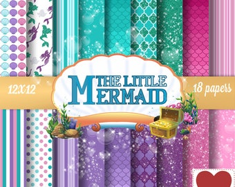 The Little Mermaid Ariel Digital Paper Kit Digital A Pequena Sereia