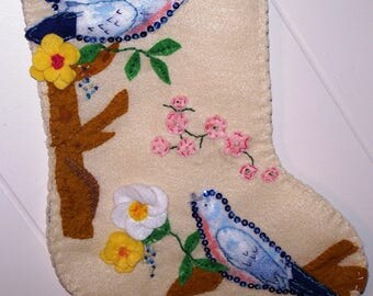 Bird christmas stocking