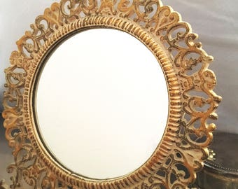 French antique vanity mirror; hand painted in gold & cream; 'tres magnifique '