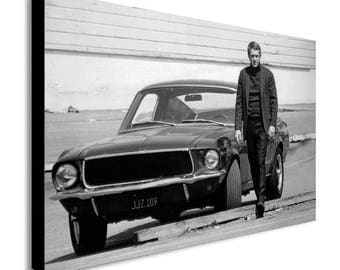 Steve Mcqueen Ford Mustang Bullet Movie Canvas Wall Art Print - Various Sizes