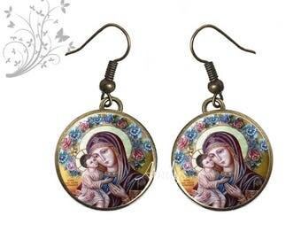Earrings Virgin religious theme, communion, Virgin. E194
