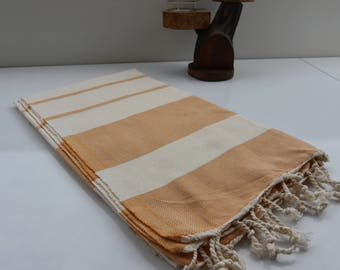 Orange and Ivory Stripes-Traditional Turkish Towel-Hand Loomed woven Bath Towel