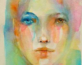 Watercolor on paper. Small female portrait. Wall eyes. Portrait of a woman. Original painting. France artist