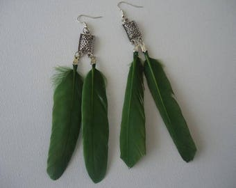 #Eté - earrings double flat feather with carved stamp