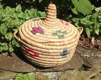 Vintage Morrocan Handwoven Basket with Lid