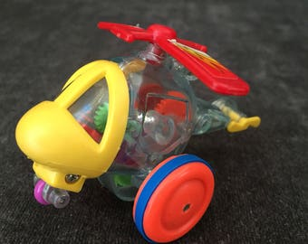 Vintage clear helicopter w inner gears skelecopter ytc