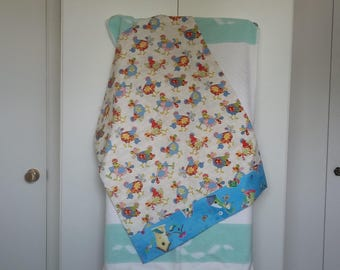 Chicken Themed Pillow Case, White and Blue fabric; child's apron included