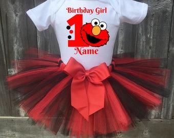 Elmo Birthday Outfit, Elmo First Birthday Outfit, Elmo 1st, 2nd, 3rd, 4th, 5th Birthday Outfit, Elmo Tutu, Sesame Street Birthday Outfit