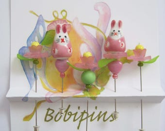 Mr. & Mrs. Bunny Wearing a Flower Hat Decorative Pins, Friendship Pins for Sharing, Quilting, Sewing, Scrap Booking, etc.