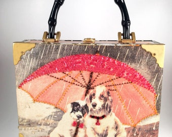 Vintage Far Nine Cigar Box Handbag with Dogs In The Rain, Bamboo Designed Top Handle, Cigar Box Purse Dogs Puppies, Bead and Sequin Clutch