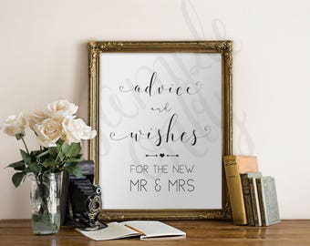 Advice and Wishes, Sign, 11x17, Printable, DIY, New Mr & Mrs, Guest table Sign, Instant Download, Printable Wedding Sign, Weddings, Shower