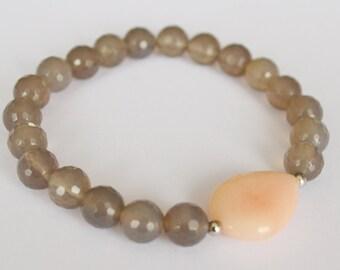 Grace Mala bracelet gemstone beads pink agate aventurine silver grey facet spacer beads yoga Buddha bracelet