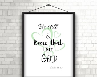 Be Still Quote, Bible Quote Wall Decor, Bible Verse Quote, Scripture Quote, Bible Verse, Motivational Quote Wall Decor