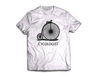 "Handmade screen printed ""cycologist"" black and white t'shirt"