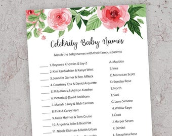 Baby Shower Games, Celebrity Baby Name Game, Celebrity Baby Shower Game, Floral Baby Shower, Celebrity Baby Names, Shower Activities, GR7