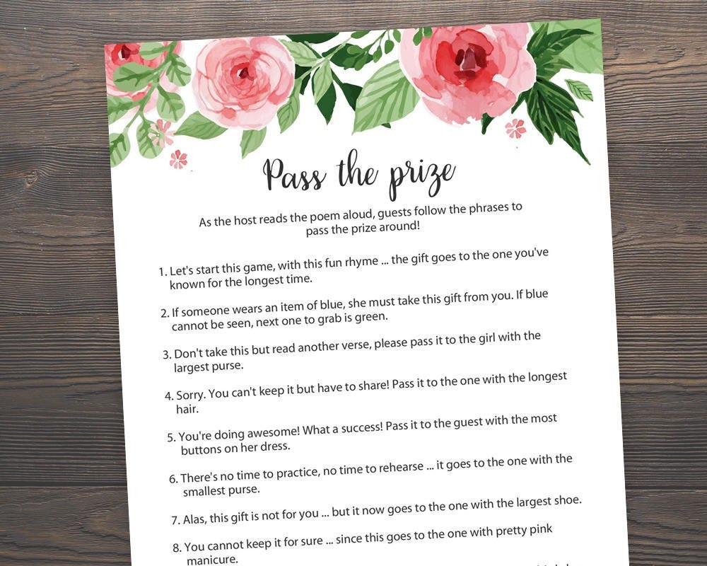 Free Printable Pass the Parcel Rhymes Game for Baby Shower ...