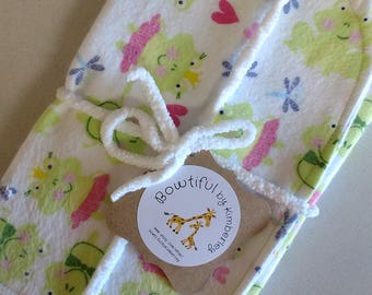 Frogs, Dragonflies and Polka Dots and Sweet Pea & Plaid Burp Cloths - Set of 2 - Baby Gift - Baby Shower Gift