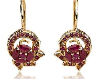 Gold Earrings, Pomegranate Gold jewelry, 14K Royal Earring, Natural Red Ruby, New Year & Rosh Hashanah Gift, Boho Jewelry, Dangle Earring