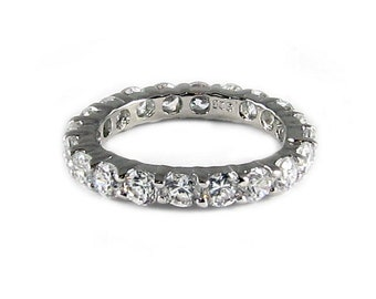 Solid Sterling Silver 925 3mm Eternity CZ Band Ring 13062R