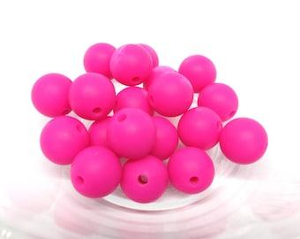 10 12mm - Fuchsia Silicone beads