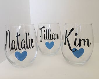 Set of 7 or 8 Personalized Bridesmaid Wine Glasses | Bridal Party Wine Glass| Bridesmaid Gift | Custom Wine Glass