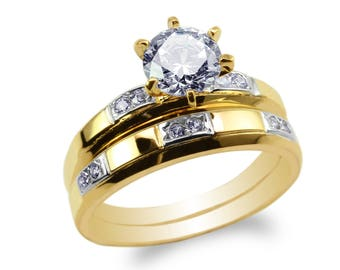 JamesJenny Womens Set Two Tone 10K/14K Yellow Gold Round CZ Embedded Engagement Ring Size 4-9