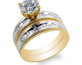 JamesJenny Womens Set 10K/14K Yellow Gold Two Tone Round CZ Engagement Wedding Ring Size 4-9