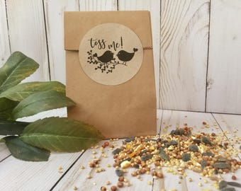 Wedding Favor -  TOSS ME - Bird Seed Bags & Personlized Stickers