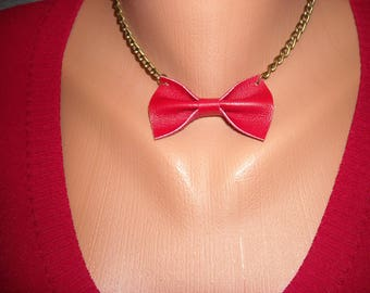 Red Leather Bow Necklace, Bow Tie Necklace, Statement Necklace, Leather Jewelry, Chain, Bow Tie, Jewelry, Necklace, Red, Handmade, Red Bow