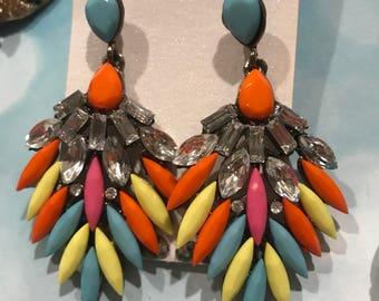 Multi Color Pageant Earrings  Headshot