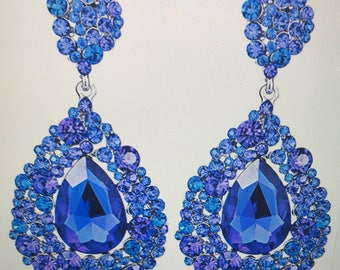 Royal Blue  Crystal Teardrop Chandelier Earrings Pierced Post