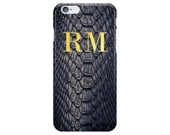 Personalised Name initials Blue Snake skin Print Phone Case Cover for Apple iPhone 5 6 6s 7 8 Plus & Samsung Galaxy Customized Monogram