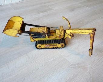 Vintage Shabby chic Tonka Trencher, Bulldozer, 1960's, Tonka Toys, Rubber Tracks intact