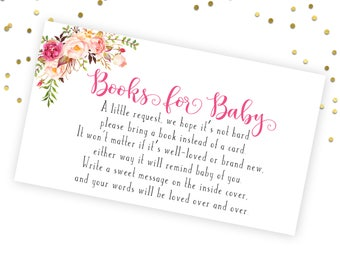 Books for Baby Printable Card, Floral Books for Baby Printable. Books for Baby, Baby Shower Invitation Insert, Books for Baby Request Card