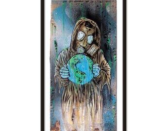 Original Artwork Hand-Painted On Cardboard  - W.O.D. 2 out of 5. - Acrylic  - Vector Art - Pop Art - Retro Style - Stencil Art - Apocalypse