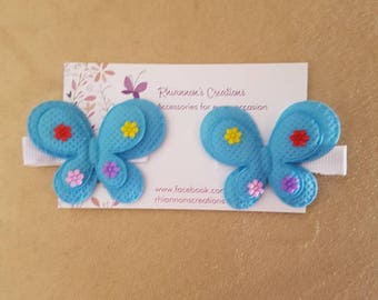 Blue or Purple Butterfly Clips